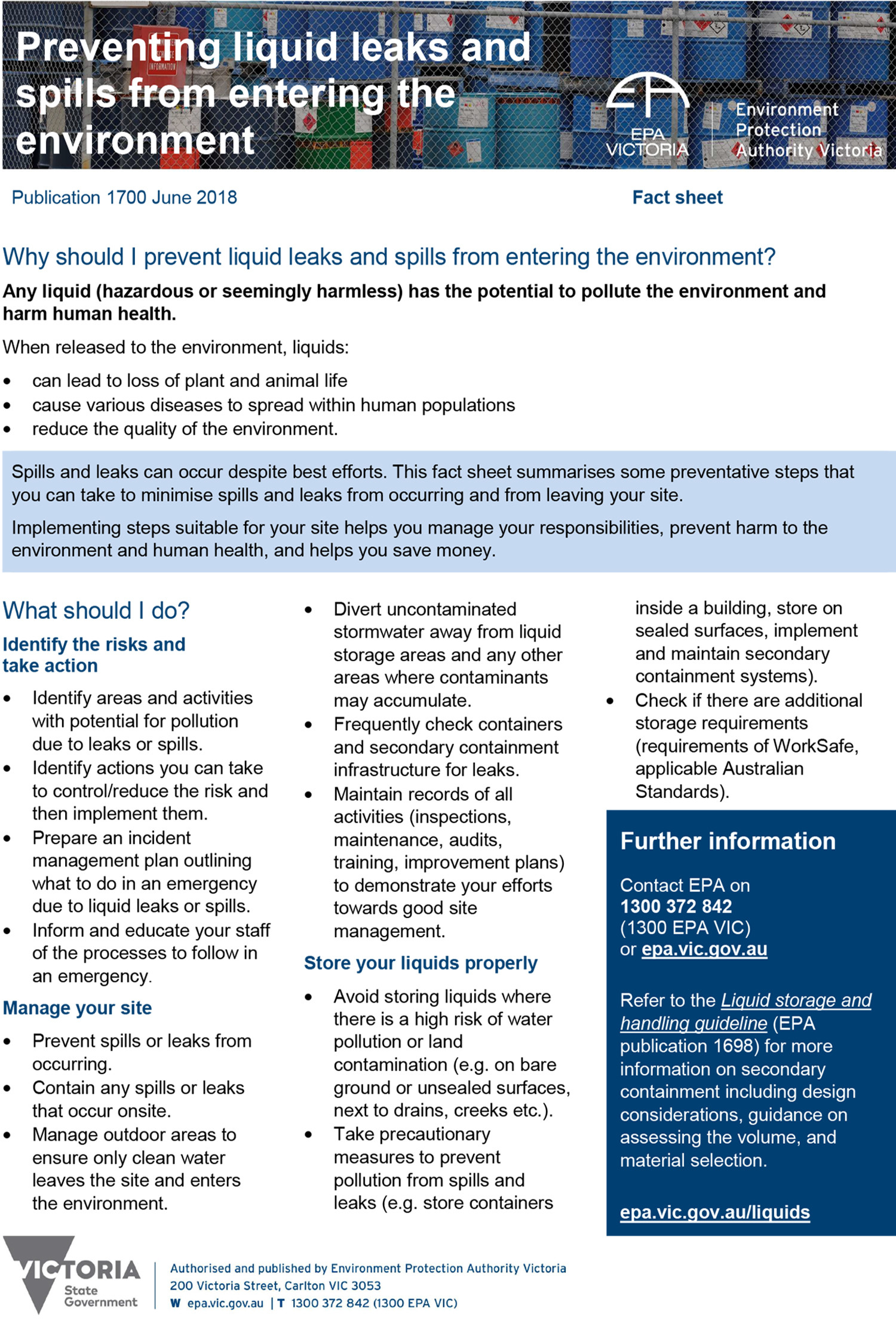 EPA liquid storage fact sheet